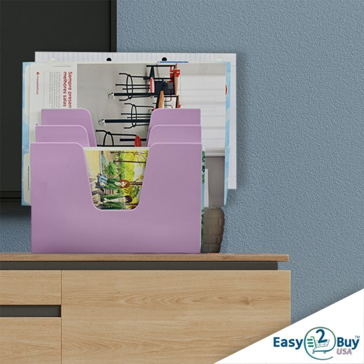 Acrimet Incline Desk File Sorter Step 5 Sections Heavy Duty Solid Purple Color