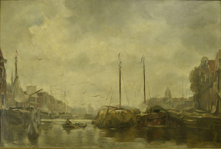 Hollandse school. Monumentaal schilderij; Schepen in haven - Artiquair