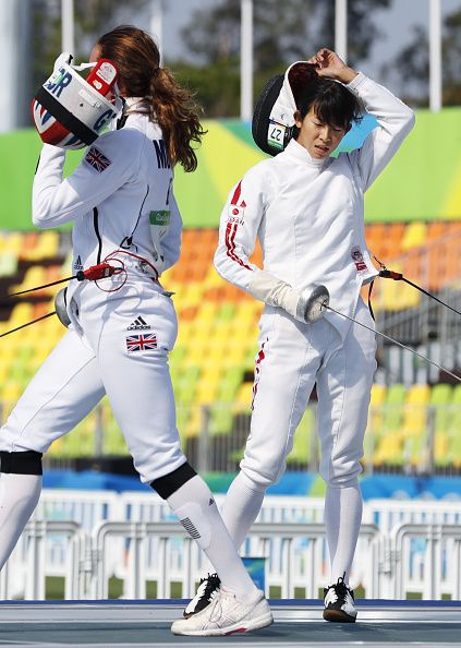 Samantha Murray of Britain competes against Japan's Natsumi Tomonaga during a…