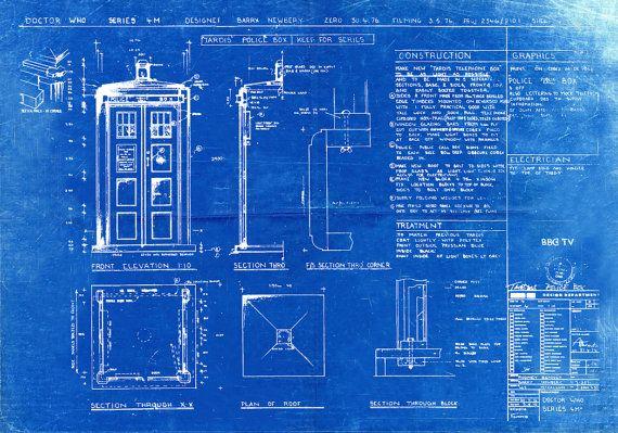 TARDIS drucken Poster Dr die Blaupause die Tardis von BigBlueCanoe