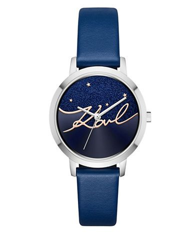 KARL LAGERFELD PARIS Camille Stainless Steel Constellation-Inspired Blue Leather Strap Watch