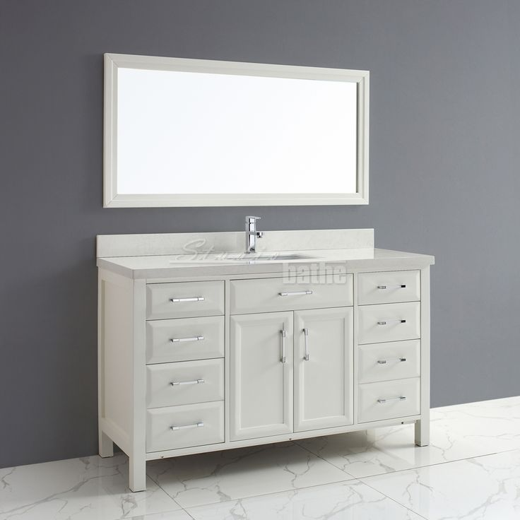 2499 Calais 60 Inch Transitional Single Sink Bathroom Vanity White Finish