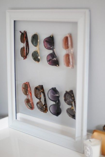 Organized sunglasses for those that have many pairs. Love this idea!