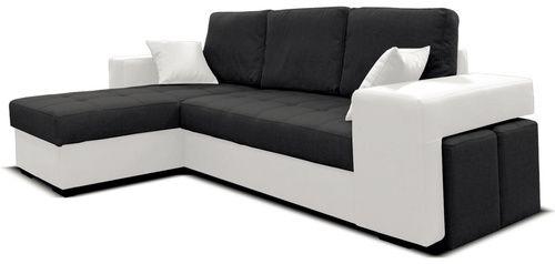Luxusná rohová sedačka pôsobí moderne a je veľmi praktická. Určite si nájde vhodné miesto vo Vašej obývacej izbe. Jednoduchým pohybom ju rozložíte, čím vznikne veľká spacia plocha. Ak Vám príde návšteva a budete ju chceť usadiť, pod opierkami na ruky sú ukryté praktické taburetky. Je celočalúnená koženkou a látkou. Na výber máte z troch farebných prevedení.