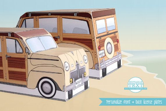 Retro Woodie Surfer Wagon Box Printable Kit... with personalize license plates... super cool dude! $7.99