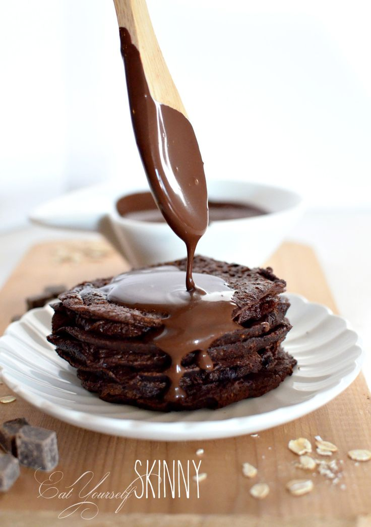 Brownie Batter Pancakes {THM-E} & Hot Fudge Syrup Sauce {THM-FP}