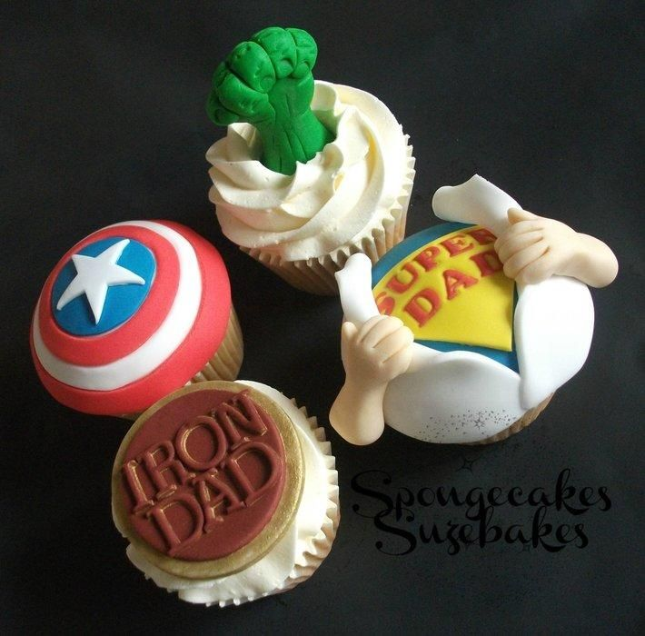 Super Hero Fathers Day Cupcakes by Spongecakes Suzebakes - For all your Father's Day cake decorating supplies, please visit http://www.craftcompany.co.uk/occasions/fathers-day.html