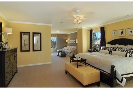 Black and white accents link a pale yellow master bedroom and a gray-walled sitting area. From Centex Homes in The Alston Ridge new home community near Raleigh, N.C.