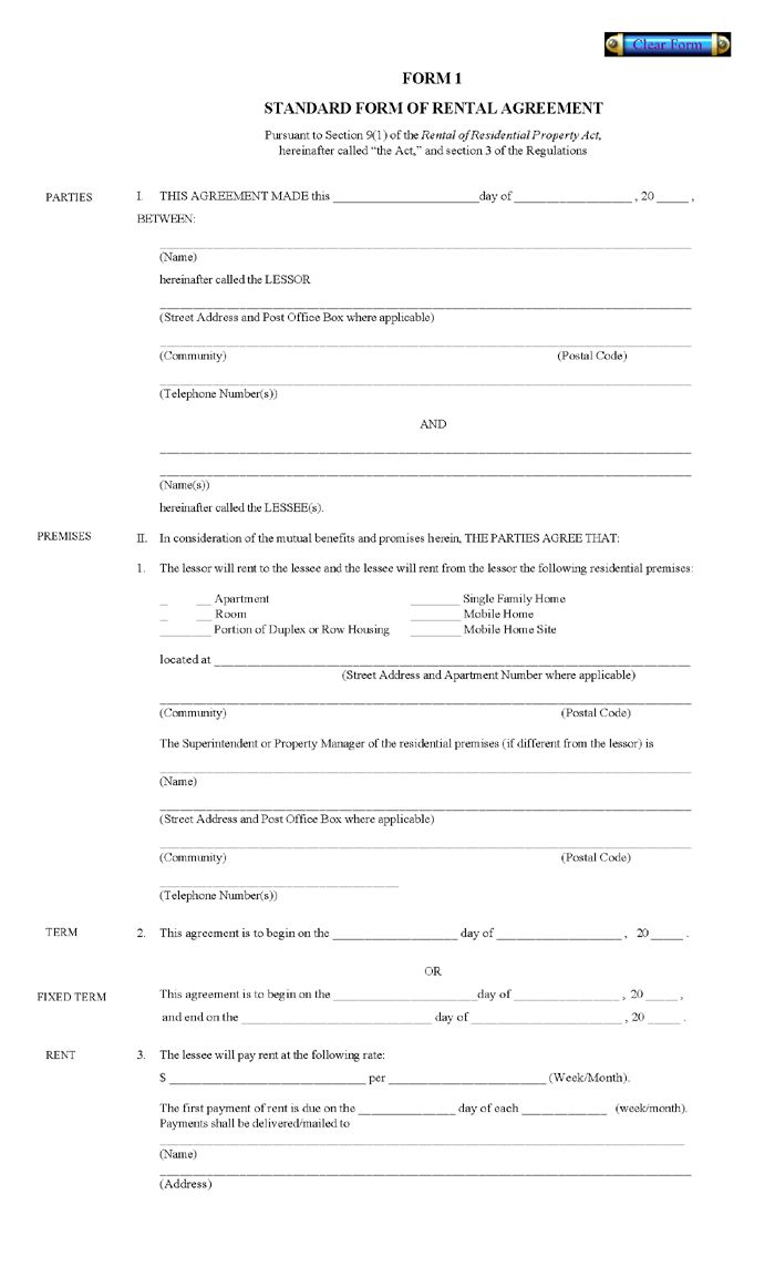 Printable Residential Free House Lease Agreement – Free Printable Rental Lease Agreement