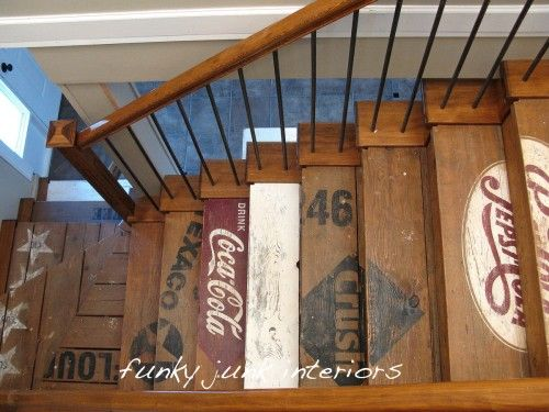 Old crate stairsDecor, Ideas, Lakes House, Basements Stairs, Funky Junk, Old Crates, Wood Crates, Stairways, Man Caves