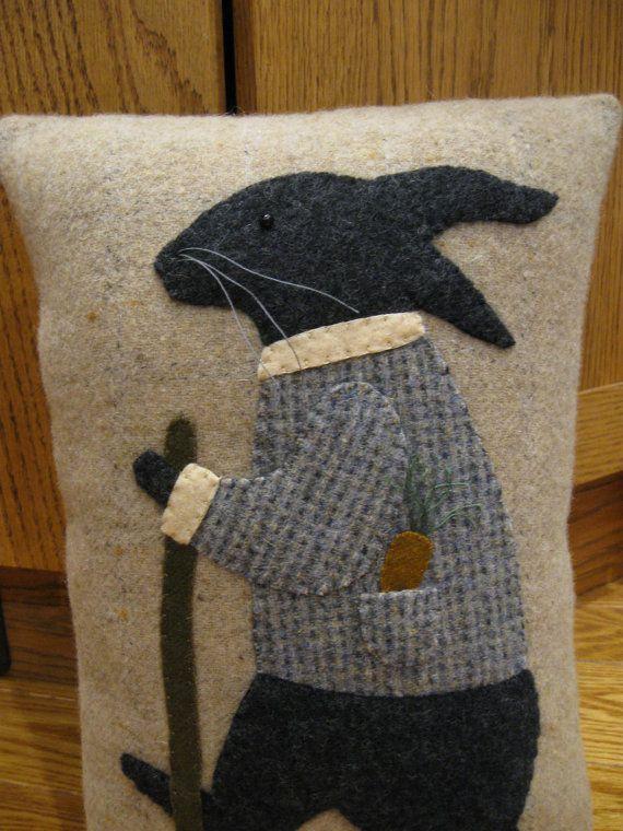 Primitive Folk Art Wool Applique Walking Rabbit Pillow