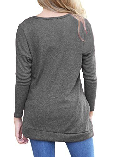 376e71efa85 CICIDES Womens Casual Long Sleeve Round Neck Loose Tunic Top Blouse T Shirt  With Buttons 7Color S XXL  tops  tees  fashion  tshirts  tunictop  womens