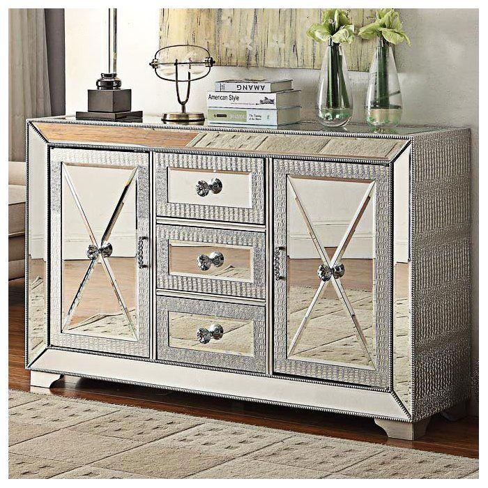 Combining Chic Contemporary Materials With Functionality The Sofia 3  Drawers, 2 Doors Sideboard Is A