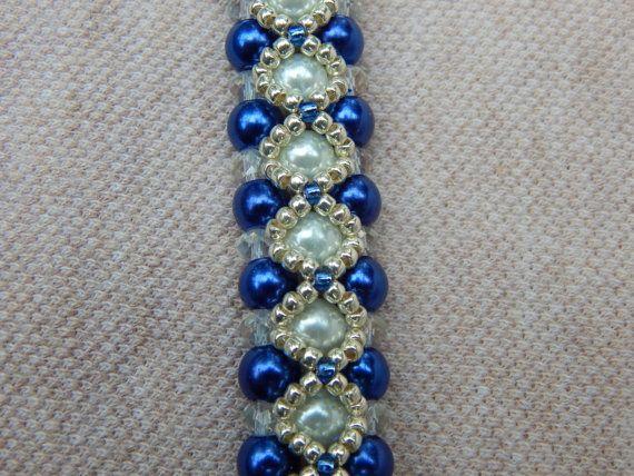 Lapis of Luxury pearl and crystal bracelet by ImaBraceletgirl