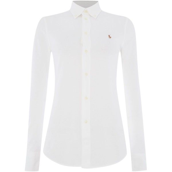 Polo Ralph Lauren Heidi oxford stretch shirt ($145) ❤ liked on Polyvore featuring tops, white, women, white shirt, polo ralph lauren shirts, collared shirt, white tops and cotton shirts