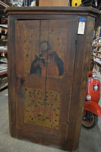 Antique-One-of-a-Kind-Hand-Painted-Saint-Matthew-Cabinet
