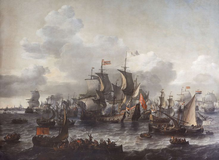 De slag op de Zuiderzee, 1573, Jan Theunisz. Blanckerhoff, Johannes Kinnema, 1663 ~ great details when you zoom in