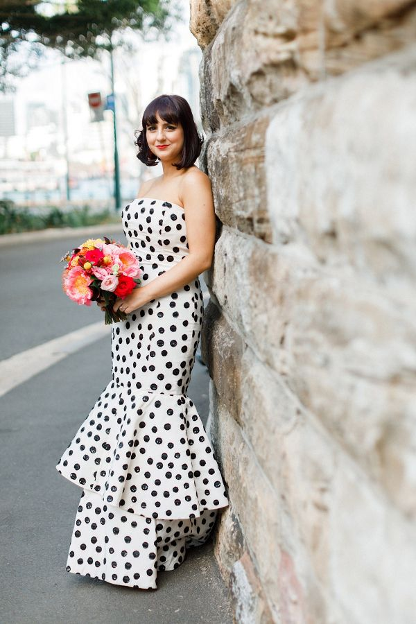 Modern Black Tie Polka Dot Wedding Wedding Dresses Strapless Wedding Dresses Unique Polka Dot Wedding