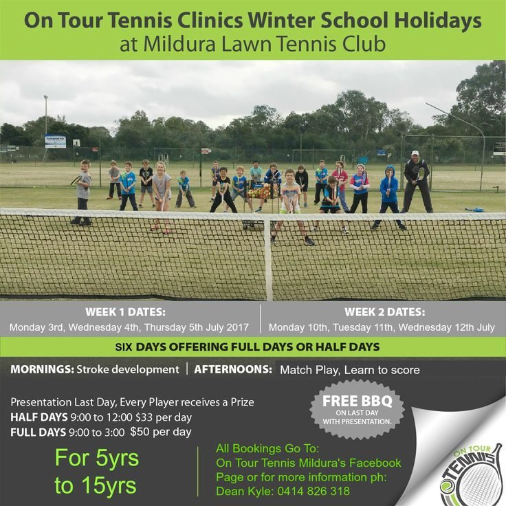 Have active kids and looking for a great way to enjoy sport and the outdoors these school holidays? On Tour Tennis are running super fun clinics for kids/teens ages 5-15yrs. See the poster for more details. #Mildura