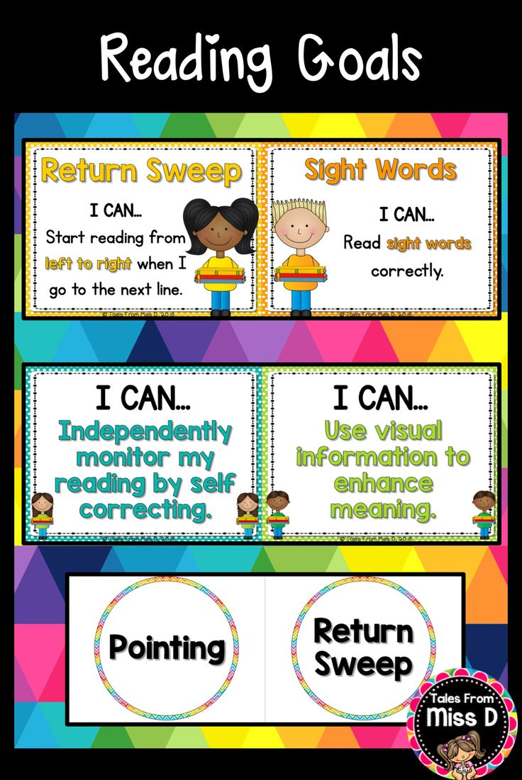 Set up and display Reading Goals in your classroom with this bright and colourful display. 1) 11 Reading Goal Posters 2) 11 Reading Goal Prompt Circles 3) Header for 'Reading Goals' 4) 14 'I can' statements for Writing 5) Name Tags for student names © Tales From Miss D