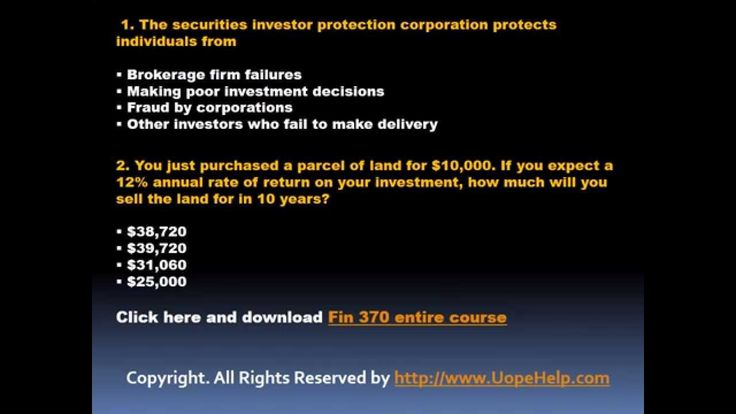 The complete solved FIN 370 Final Exam question, answers available at the www.UOPeHelp.com helps you to get a guideline about the financial market