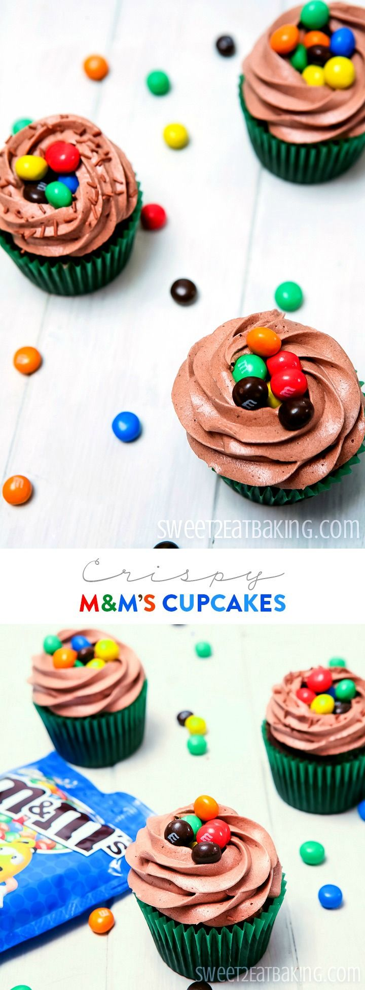 Crispy M&M's Cupcakes Recipe by Sweet2EatBaking.com. These cupcakes have M&Ms Crispy baked right in the batter, with a generous serving on top of each cupcake, too.