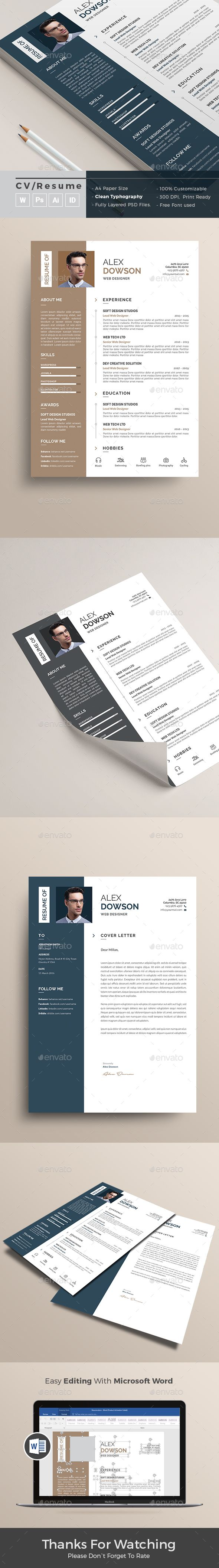 Resume by themedevisers Resume Word Template / CV Template with super clean and modern look. Clean Resume Template page designs are easy to use and custom