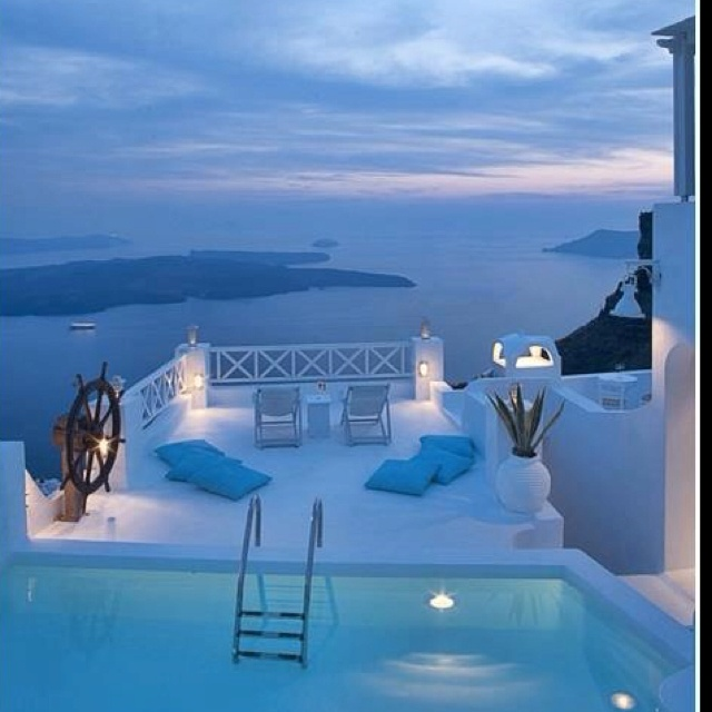Somewhere in the world: Yes Please, One Day, Santorini Greece, Oneday, Favorite Places, Vacations Spots, White Architecture, Pools, Heavens