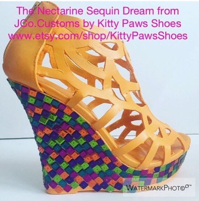 JCo.Customs by Kitty Paws Shoes The Nectarine Sequin Dream Orange Wedg                      – Kitty Paws Shoes & JCo.Customs by Kitty Paws Shoes