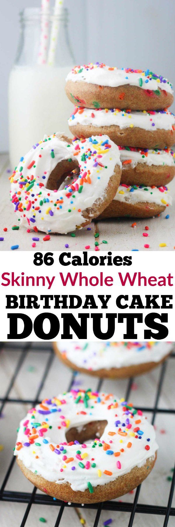 Satisfy your morning sweet tooth with these guilt free, Skinny Whole Wheat Birthday Cake Donuts! www.itscheatdayeveryday.com