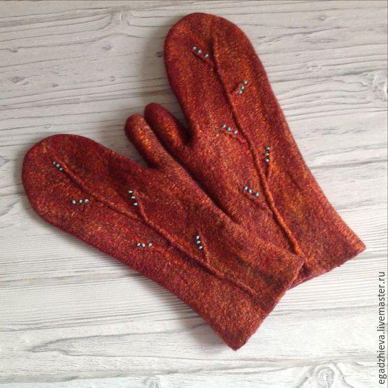 Купить Варежки валяные оранжевая веточка - оранжевый, абстрактный, варежки ручной работы