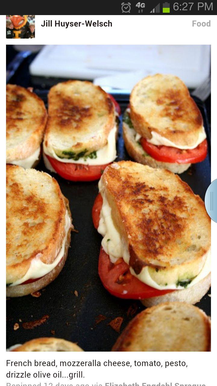 french bread, mozz, tomato, pesto, drizzle olive oil, grill