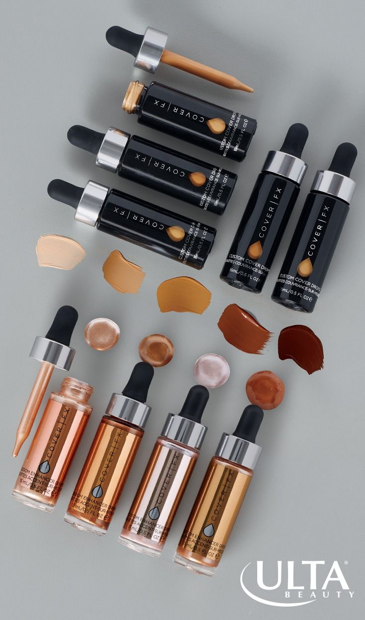 A few drops of color, a whole lotta glam. Cover FX custom drops puts you in control of your makeup looks: shimmery Custom Enhancer higlighter drops to use under, over, or mixed in with your makeup, Custom Cover Drops to create a custom foundation shade, and Deluxe Perfect Setting Powder to lock it all in.