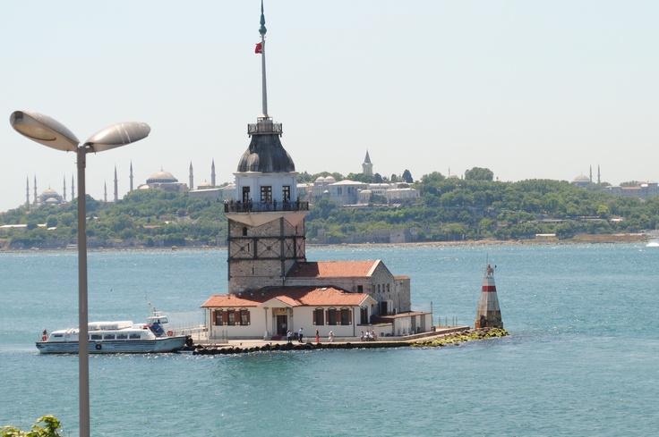 Maidens Tower view from Filizler Koftecisi Restaurant Uskudar, Istanbul Turkey.