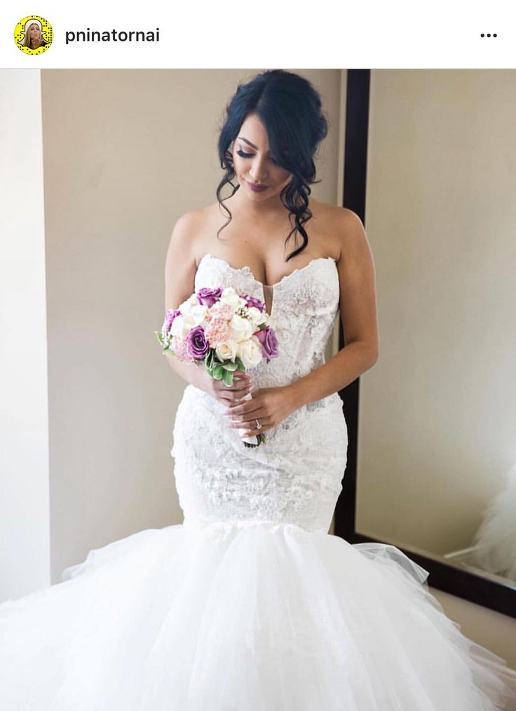Pnina Tornai - sweetheart lace mermaid bridal gown with tulle bottom