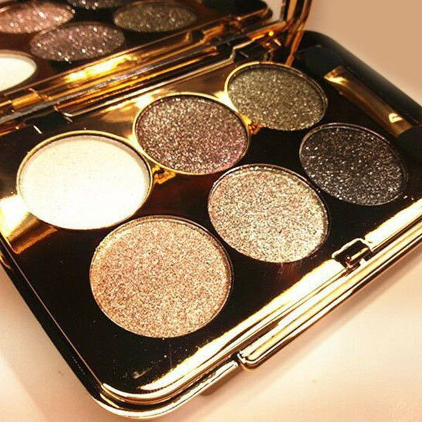 Practical 6 Colours Diamond Eyeshadow Palette with Mirror and Brush