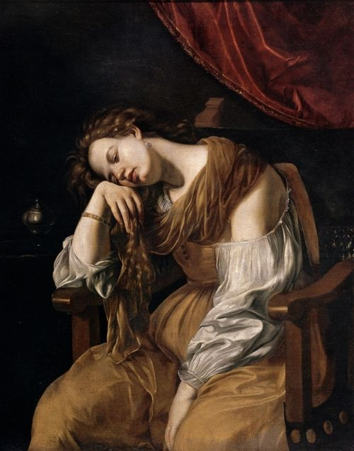 Mary Magdalene as Melancholy by Artemisia Gentileschi    Date: 1621-1622