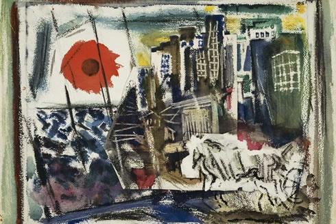 John Marin - The Red Sun/Brooklyn Bridge - 1922 | Art ...