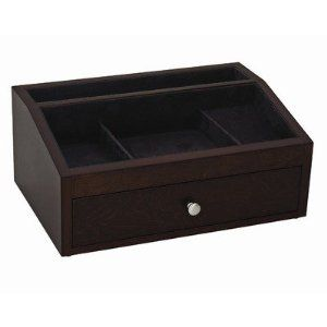 "Jackson Valet / Jewelry Chest in Mahogany by Reed & Barton. Save 53 Off!. $89.99. 12 x 8 X 5 1/8""H"". with drawer for jewelry. black suede fabric linings. mahogany finish on birch veneer. 548MBK   Features: -Valet / Jewelry chest. -Mahogany finish. -Hardware finish: Brushed nickel.-Lined in black suede fabric. -Accented with knob. -Open topped chest with one drawer. -Sporting ring bars and several compartments provides a convenient storage area for jewelry items."