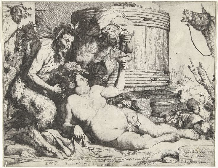 Silenus with the Wine Barrel, Jusepe Ribera, 1628. Fauns on the right, with Silenus (companion and tutor to Dionysus) in the middle.