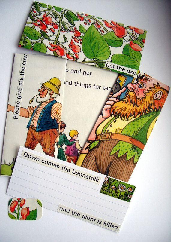 Ladybird Books Jack and The Beanstalk Upcycled Mini Stationery Set (4 mini envelopes with co-ordinating notelets & envelope seals/stickers) #Etsy #handmade