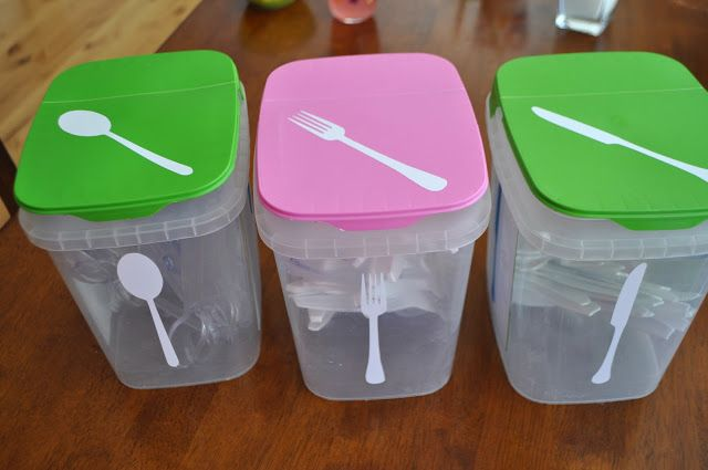 Recycled dishwashing containers.  I use these in the bathroom to hold bars of soap, first aid items, extra toothbrushes and toothpaste, etc.
