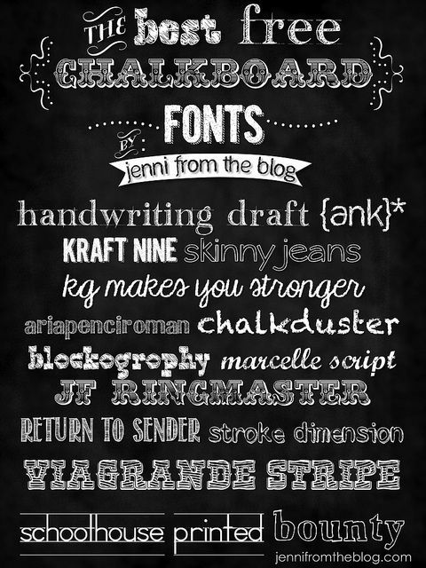 Chalkboard templates & fonts | Free downloadables, templates, & printables http://www.jennifromtheblog.com/2013/01/free-chalkboard-fonts.html