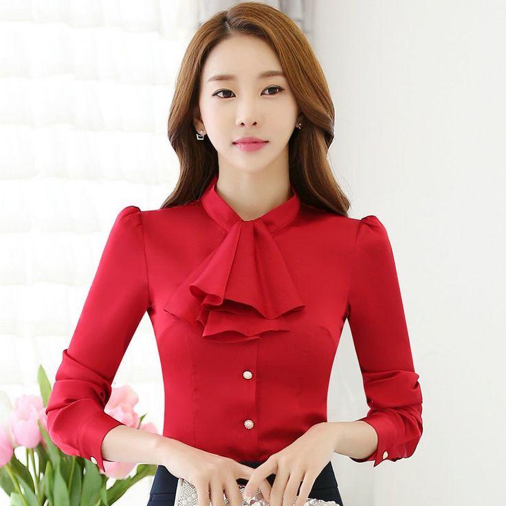 >> Click to Buy << women chiffon blouse shirt 2016 autumn fashion long sleeve slim blouse OL lady office work wear bow red white shirts kimono tops #Affiliate