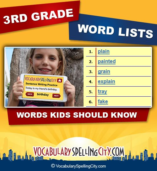In third grade spelling and vocabulary, students should have command of sight…