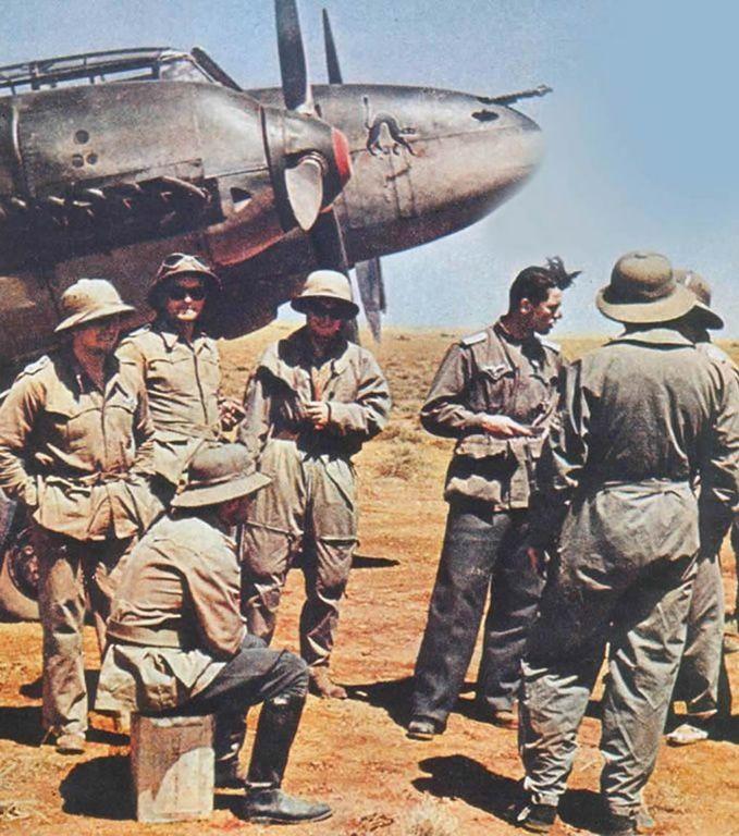 German World War 2 Colour Afrika Korps And Messerschmidt Bf110