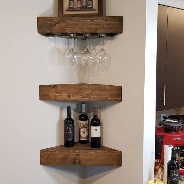 Rustic Wood Wine Rack Wine Rack Corner Wine Rack Floating Wine Rack Wall Wine Rack Corner Shelf Kitchen Wine Rack Wood Wine Rack In 2020