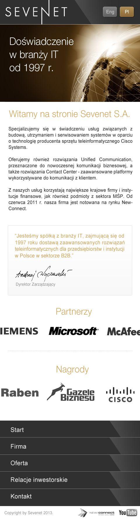 Responsive Web Design for Sevenet