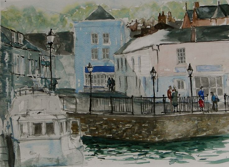"""Quayside Padstow, watercolour from """"Drawn to the Edge 2012."""""""