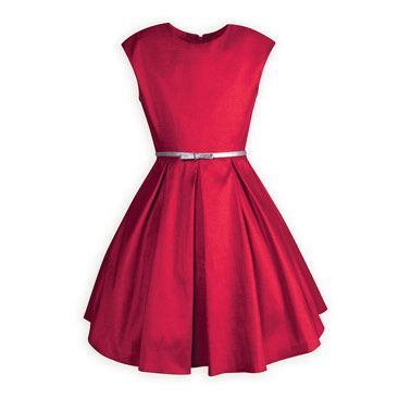Perfect for all occasions. Bright red shimmering poly/nylon stretch taffeta waisted dress has full swing style skirt with wide inverted pleats. Thin s
